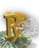 High Cost of Medicine money pills Stock Photos