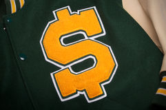 Letterman jacket with a dollar symbol Royalty Free Stock Images