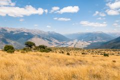 High country above Wairau river in Marlborough, New Zealand stock photography