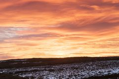 High Crag Sunset. A landscape image of the sunset over High Crag in Nidderdale, North Yorkshire, England. 01 December 2017 Stock Photography