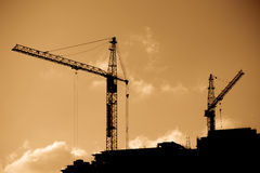High Cranes at sunset. Silhouette High Cranes at sunset Royalty Free Stock Photography