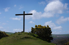 High Cross at Ffald-y-Brenin. Christian Retreat Centre in Pembrokeshire, Wales. Gwaun Valley visible beyond Royalty Free Stock Photos