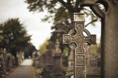 Free High Cross Of The Scriptures And Cathedral GLASNEVIN CEMETERY . DUBLIN. IRELAND Stock Images - 160500124