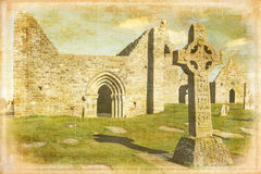 High Cross of the scriptures. Clonmacnoise. Ireland Stock Photo