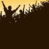 High crowd. Editable  silhouette looking up at a celebrating crowd Stock Photo