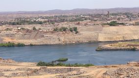 High dam or Aswan dam - Egypt. Scenery around the Aswan Dam with hydroelectric power plant in Aswan Egypt stock video footage
