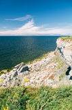 High and danger cliff coast at the Baltic sea Stock Image
