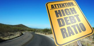 High debt ratio road sign. On a sky background and dessert road royalty free stock photos
