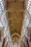 High Decorative Church Ceiling. The high decorative patterned nave ceiling of Bath Abbey, UK royalty free stock photos