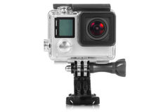 High Definition Action Camera. Gopro 4 Black High definition action camera on white background Stock Images