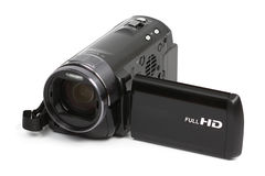 High definition camcorder. Hiogh definition Full HD camcorder isolated on white background Stock Image