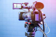 High definition cinema camera on a movie set Royalty Free Stock Photos