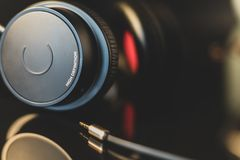 High definition earphone with nice reflection in focus stock images
