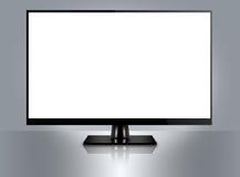 High Definition flatscreen TV. On reflective background Royalty Free Stock Image