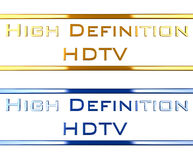High definition hdtv. Two text in blue an gold saying high definition hdtv. the material is shiny metal-chrome like Royalty Free Stock Photography
