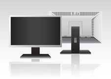 High Definition LED Monitor. Front and Back of High Definition LED Monitor  on white background. Vector Illustration Royalty Free Stock Photography