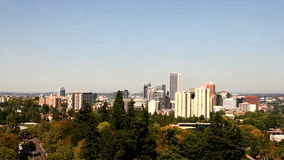 High Definition Movie Aerial View over Cityscape and Landscape of Portland Oregon Daytime in Early Fall Autumn Season 1080p stock video footage