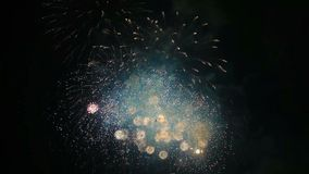 High Definition Movie of Colorful Fireworks in Night Sky During a Festive Celebration Event 1080p stock video footage