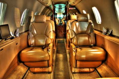 High definition photo of privat jet cabin Royalty Free Stock Photography