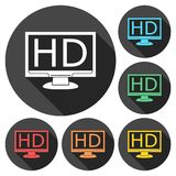 High definition television symbol, HDTV icons set with long shadow Royalty Free Stock Images