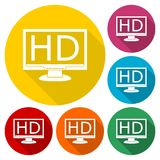 High definition television symbol, HDTV icons set with long shadow Royalty Free Stock Photos