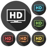 High definition television symbol, HDTV icons set with long shadow Stock Image