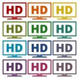 High definition television symbol, HDTV icons set Royalty Free Stock Photos