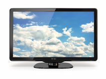 High Definition TV with cloud sky on screen. Stock Image