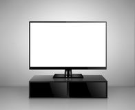 High Definition TV with TV stand. Isolated on white Royalty Free Stock Photography