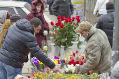 High demand for flowers in connection with international women's day on the streets Stock Photos