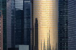 High density CDB tower building glass facade background stock image