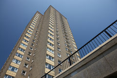 High Density Housing Block. High density social housing block of concrete construction with pebble-dash finish stock image