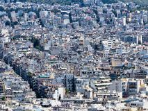 High Density Multi Level Houses, Athens, Greece. Detail of suburban Athens high density concrete slab and pillar multi level houses, Greece. An urban concrete stock photos