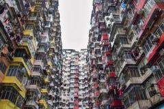 High density old residential building in Hong Kong. Face of Hong Kong royalty free stock photography