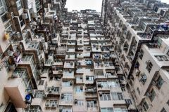 High density old residential building in Hong Kong. Face of Hong Kong stock photography