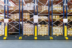 High Density Storage. Shelving System in Warehouse stock photo