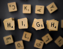 High. 'High' depicted using raised, scrabble-like tiles Stock Image