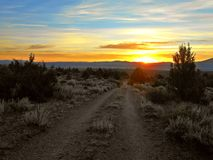 High Desert Sunrise. Sunrise over the Ochoco Mountains as seen from a ridge in the Crooked River National Grassland - near Culver, OR royalty free stock photography