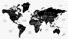 Black political world map with country borders and white state name high detail black vector political world map with countries names on transparent background royalty free illustration gumiabroncs Gallery