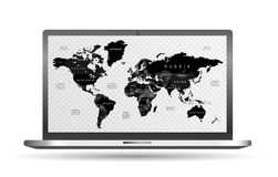 High Detail black Vector Political World Map with countries names with transparent background on screen laptop computer. With ai 10 additional Royalty Free Stock Image