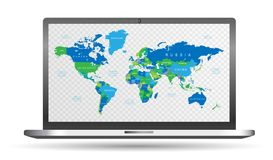 High Detail blue and green Vector Political World Map with countries names with transparent background on screen laptop computer. With ai 10 additional Royalty Free Stock Photo