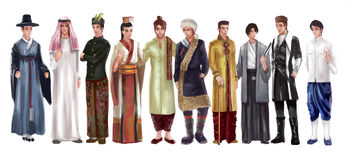 High Detail Cartoon Illustration Of Asian Male Man Traditional Royalty Free Stock Image