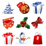 High detail christmas icons Stock Image