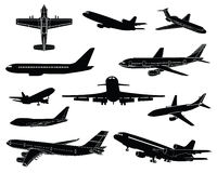 High detail civilian plane silhouettes Royalty Free Stock Photography