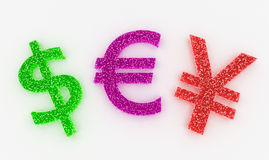 High Detail Colorful Currencies Signs in Sweet Candies Stock Photo