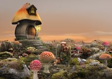Magical Fairy Mushroom House Fantasy stock illustration