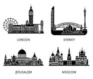 High detail landmarks silhouette stencil set. World countries cities sightseeing collection. London Sydney Jerusalem Moscow. United Kingdom Israel Russia royalty free illustration
