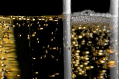 High detail of one flute of champagne with golden bubbles Stock Image