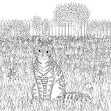 High detail patterned cat on detailed background. Royalty Free Stock Images