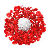 High Detail Red Blood Cells with White in Centre. 3d Rendering stock illustration